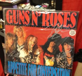 Guns N Roses Appetite for Conversation interview LP, autographed by Axl Rose, Slash, Duff McKagan, Izzy Stradlin, and Steven Adler